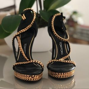 Tom Ford  gold chain 5 inch heel